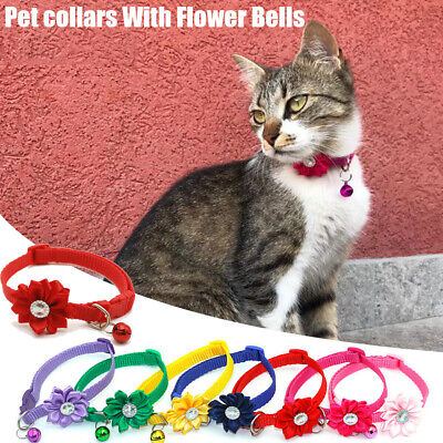 1Pc Adjustable dog cat collars With Flower Bells For Cats Dogs Necklace