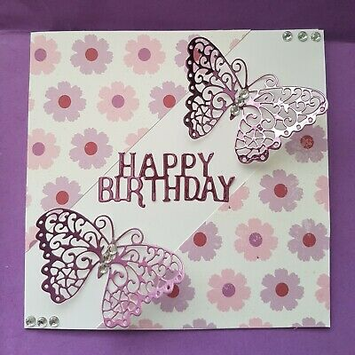 Happy Birthday Handmade Butterfly Card Pink Lilac 3D Mum Sister Grandaughter