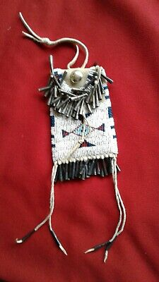 "Native North American Plains Indian Beaded Buckskin  ""Strike A Light"" Bag Pouch"