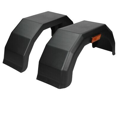 Pair of 13 inch plastic trailer mudguards mud guards arch fenders wings black