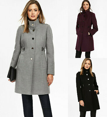 Wallis NEW Petite Grey,Berry & Black Funnel Neck Winter Coat Jacket Size 8 to 18
