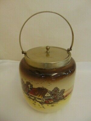 Newport Pottery, Biscuit Barrel, 'Countryside'
