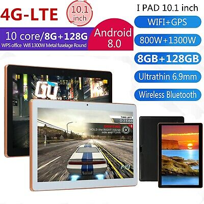 """10.1"""" inch 4G-LTE Tablet Android 8.0 Bluetooth PC 128GB 2 SIM GPS Dual Camera UK"""