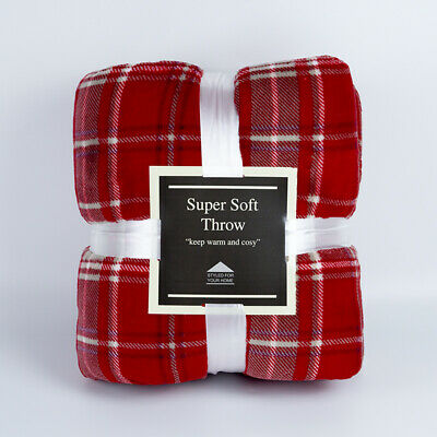 Super Soft Warm Luxury Fleece Throws With Sherpa Reverse Printed Red 150X200