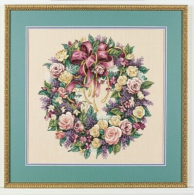 New Counted Cross Stitch Embroidery Kit Dimensions 03837 Wreath of Roses