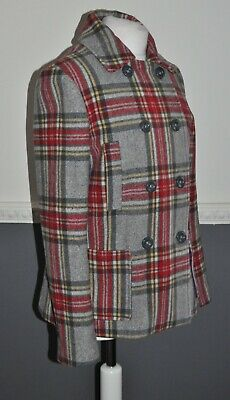 BODEN Johnnie B Girls Coat 15-16 Y Plaid Wool Blend Lined Peacoat Gray Coat