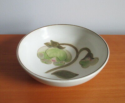 """Denby Troubadour Coupe Cereal Soup Bowl 6 5/8"""" Green Pink Magnolia 1970s England"""