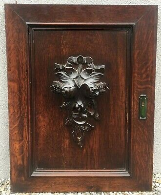 Big antique french furniture door early 1900's oak wood carved henri II