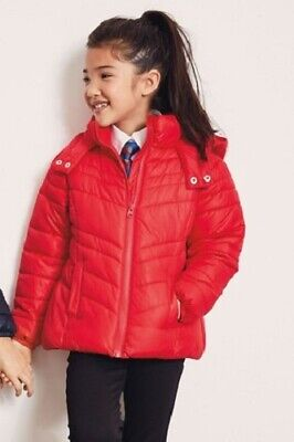 BNWT NEXT Girls Red Padded Puffa Winter Coat Jacket With Hood 8-9 10-11 Years