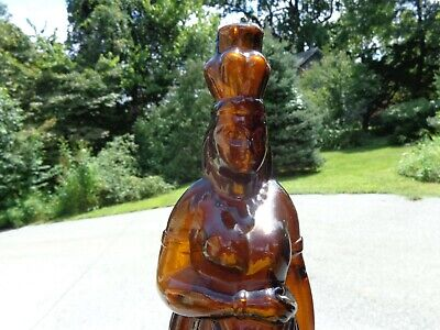 Antique 1868 Brown's Celebrated Indian Queen Herb Bitters Amber Glass Bottle