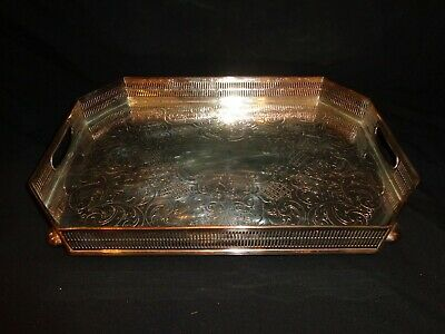 """Antique Sheffield Silverplate Reticulated Footed Serving Tray (14"""" x 9-3/4"""")"""