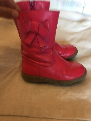 Girls Pink Leather M&S Boots Size 8 ( Infant)