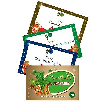 Charades Christmas Games Cards Classic Family Game Xmas Kids Festive Table Eve