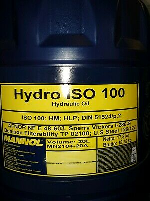 Hydraulic Oil ISO 100 20 Litres Hydro replacement for Shell Tellus 41