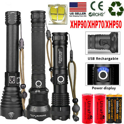 990000LM xhp90 xhp70 xhp50 Ultra Bright LED 18650 Rechargeable Zoom Flashlight