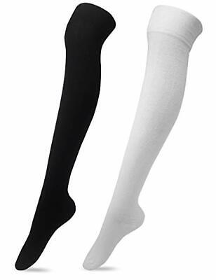 New Women's Over The Knee Plain Cotton Thigh High Adults Stretchy Ladies Socks
