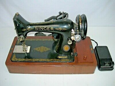 Vintage SINGER 99 Sewing Machine 1949 BENTWOOD CASE with Key FOOT CONTROL Light