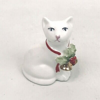 Vintage Harrods London Bone China Cat Figure Christmas White Holly Bells 1980s