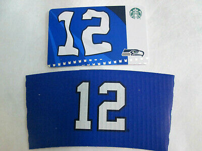 2019 Starbucks SEATTLE SEAHAWKS Gift Card Limited Edn w/ NFL +COFFEE CUP SLEEVE