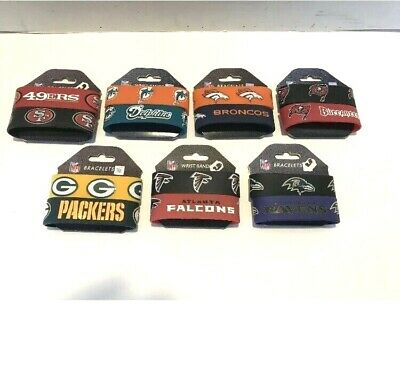 NFL Football Rubber wrist band fan bracelet silicone 2 pack CHOOSE your team!