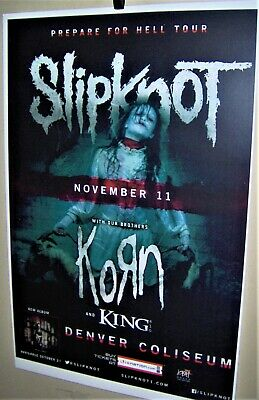 SLIPKNOT and KORN in Concert Show Poster PREPARE For HELL Tour Denver Co COOL