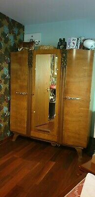 Lovely ART DECO Bed & Wardrobe with pretty floral decor- figured walnut finish