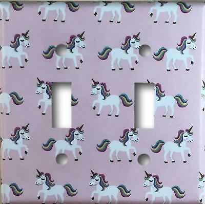 Pink Unicorn Design Decorative Double Toggle Light Switch Cover Wall Plate