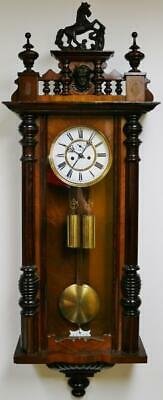 Antique Carved Walnut 8 Day Striking Twin Weight Regulator Vienna Wall Clock