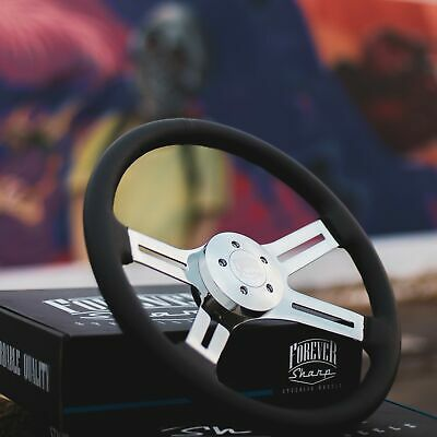 """18"""" Chrome Steering Wheel with Black Leather Grip and Billet Horn Button"""