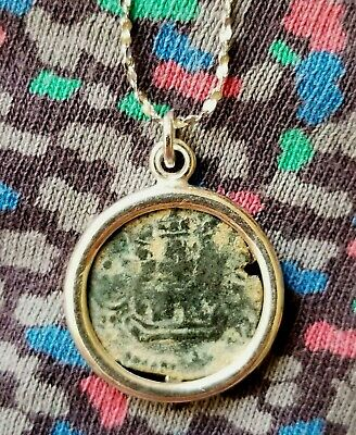 Authentic Spanish Colonial Pirate Shipwreck Copper Cob Coin 925 Silver Necklace