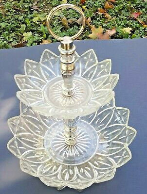 Clear Glass/Crystal Vintage 2-tier Serving-Tidbit Party Tray/Dish