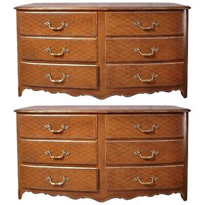 Pair of French Midcentury Leather Covered Chests of Drawers with Gilt Decoration