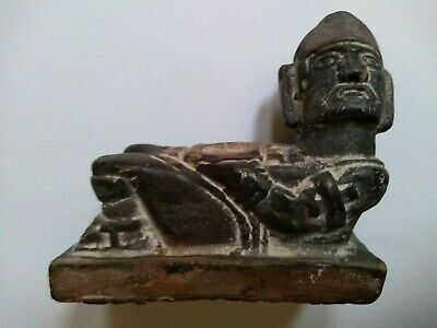 Authentic Original Pre Colombian Mayan Chac Mool Incised Clay Figure Artifact