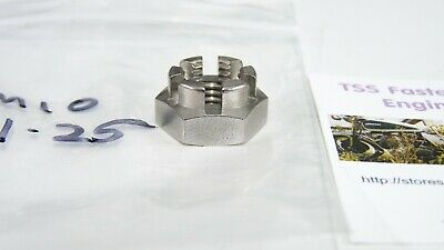 Castle or Axle Nut - A2 Stainless Steel - 10 mm/M10 x 1.25 Fine Pitch - UK Made