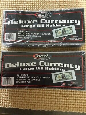 50 X 2 BCW Deluxe Semi Rigid Currency Sleeve Large Bill Banknote Holder PVC