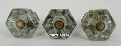 Lot of 3 Antique Glass Furniture Cabinet Cupboard Drawer Knob Pulls ~ Apothecary