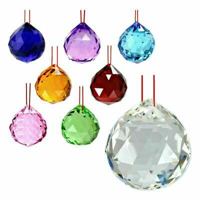 "FENG SHUI HANGING CRYSTAL BALL 1.25"" 30mm Choice of Colors Faceted Prism Sphere"