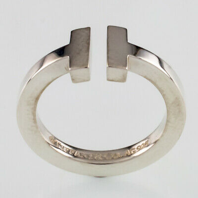 Tiffany & Co. Sterling Silver Tiffany T Square Ring Size 5.25 w/ Pouch