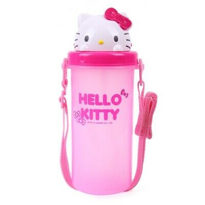JAPAN SANRIO HELLO KITTY 650ML-Used Once BPA FREE WATER BOTTLE W/ STRAW & STRAP