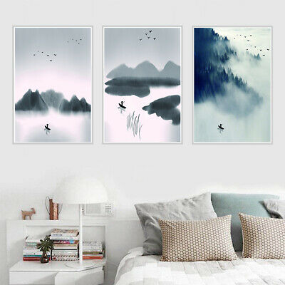 Chineas Landscape Ink Painting Canvas Poster Picture Home Room Wall Art Decor
