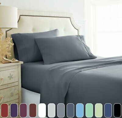 1000TC Microfibre - 4 Pcs FLAT FITTED Sheet Set Queen/King/Double Size Bed New