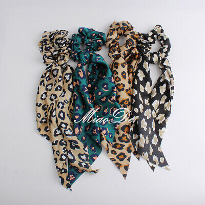 Women Elastic  Hairband Scrunchie Ponytail Scarf Hair Rope Hair Bow   Leopard