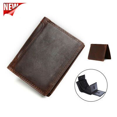 Mens Vintage Genuine Leather Wallet RFID Blocking Slim Trifold Purse Card Holder