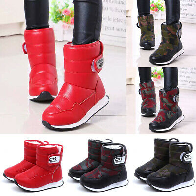 Kids Warm Fur Lined Ankle Boots Boys Girls Casual Slip On Flat Winter Snow Shoes