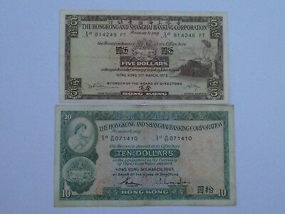 Hong Kong 1 x $5 note (1975) + 1 x $10 note (1983) - Circulated Conditions