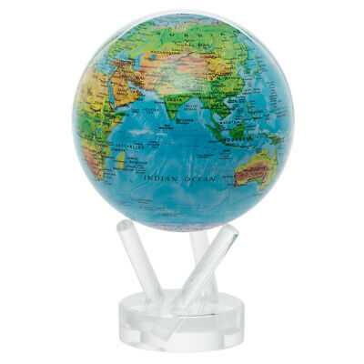 NEW Mova Small Blue Relief Spinning Globe