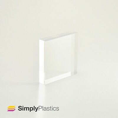 Premium Polished Clear Cast Acrylic Perspex Plastic Block / Various sizes