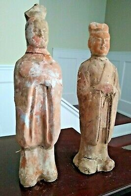Large Pair of Tang Dynasty Tomb Attendants - CHINA - 618 to 907 AD
