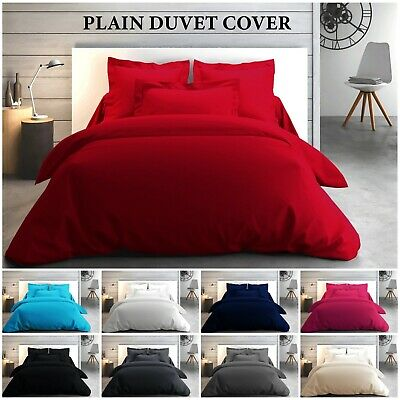 Luxury Plain Dyed Duvet Quilt Bedding Set With Pillowcase Single, Double, King