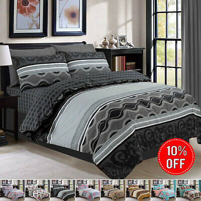 Bedding Set With Duvet Cover Pillow Cases & Fitted Sheet Single Double King Size